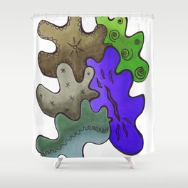 Relaxing Ornamental Spirits. Meditative iFi Art. Stress and Pain Free with MYT3H. Nature. Earth. Shower Curtain