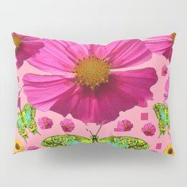 PINK COSMO FLORALS GREEN MOTHS SUNFLOWERS Pillow Sham
