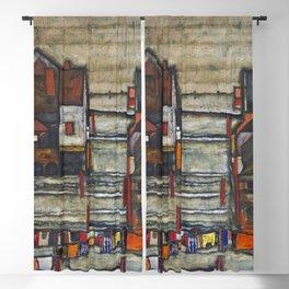 Village Houses with Laundry colorful landscape painting by Egon Schiele Blackout Curtain