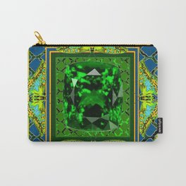YELLOW  DECORATIVE  GREEN EMERALD GEM & BUTTERFLY ART Carry-All Pouch