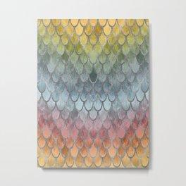 Colorful Fall Mermaid Scales Pattern silver Metal Print