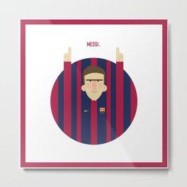 Lionel Messi Barcelona Illustration Print Metal Print