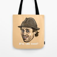 brad pitt Tote Bags featuring Snatch - Brad Pitt by MMA Illustration