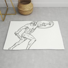 Heracles With Shield and Sword Drawing Black and White Rug