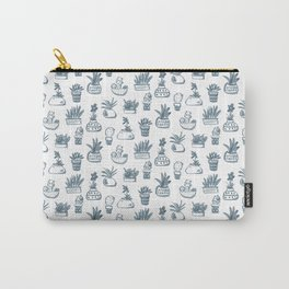 Blue Inky Cacti Carry-All Pouch