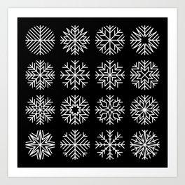 minimalist snow flakes on black Art Print