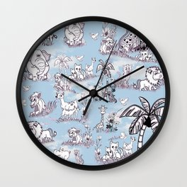 Coloring-in Line-Drawing Art for Wallpaper Repeat Wall Clock
