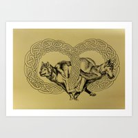 celtic Art Prints featuring Celtic Wolves by Rachel Hoffman
