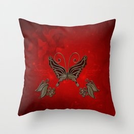 Wonderful butterlies with flowers Throw Pillow