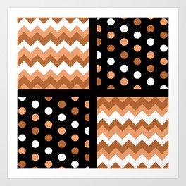 Black/Two-Tone Burnt Orange/White Chevron/Polkadot Art Print