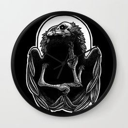 Wounded Raven God Wall Clock