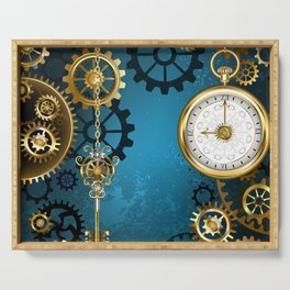 Turquoise Background with Gears ( Steampunk ) Serving Tray