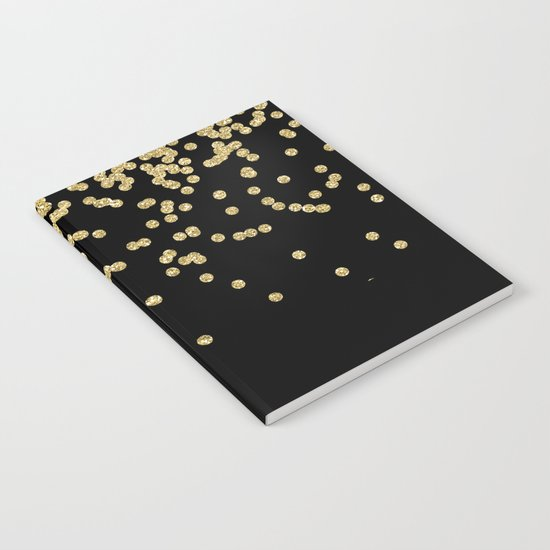Sparkling gold glitter confetti on black - Luxury design Notebook