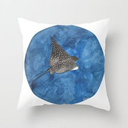 Spotted Eagle Ray Watercolour Throw Pillow