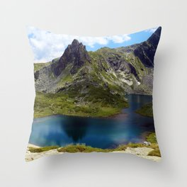 The twin lake, the largest of the seven Rila lakes Throw Pillow