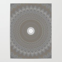Concrete and White Lace Mandala Poster