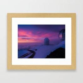Astronomical Telescopes Sunset at Mauna Kea Summit, Big Island, Hawaii Framed Art Print