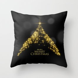 Gold Sparkle Wish You A Merry Christmas Tree Throw Pillow