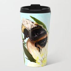 Bee on flower 4 Metal Travel Mug