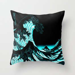 The Great Wave : Dark Teal Throw Pillow
