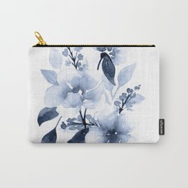 Navy Watercolor Flowers Carry-All Pouch