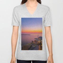 Sunset in Oia,Santorini Unisex V-Neck