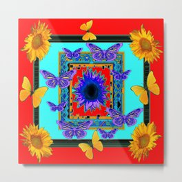 SOUTHWEST RED-BLUE BUTTERFLIES-SUNFLOWERS Metal Print