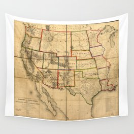 Western United States Territory Map (1858) Wall Tapestry