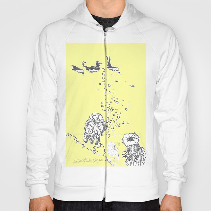 Two Tailed Duck and Jellyfish Baby Yellow Hoody