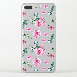 Blush pink green watercolor modern floral pattern Clear iPhone Case