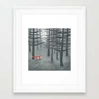 gray Framed Art Prints featuring The Fox and the Forest by Nic Squirrell