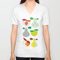 50s V-neck T-shirts featuring Apples and Pears / Geometrical 50s pattern of apples and pears by In The Modern Era