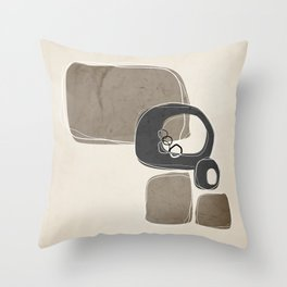 Retro Abstract Design in Charcoal Grey and Taupe Throw Pillow
