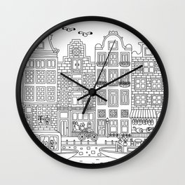 Amsterdam Line Art Wall Clock