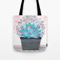 succulent Tote Bags featuring succulent by Asja Boros