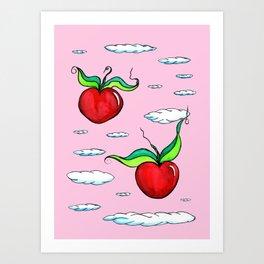 Flying Apple Hearts Art Print
