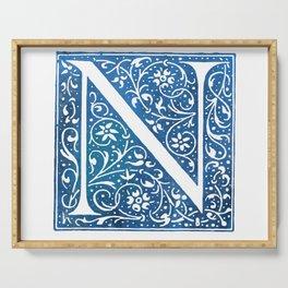 Letter N Antique Floral Letterpress Serving Tray