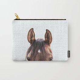 peekaboo horse, bw horse print, horse photo, equestrian, equestrian photo, equestrian decor Carry-All Pouch