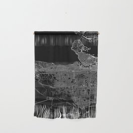 Vancouver Black Map Wall Hanging