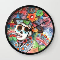 lee pace Wall Clocks featuring Social Pace by Adrienne Price