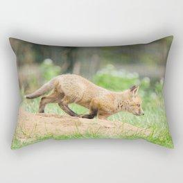 On The Move Baby Red Fox Animal Wildlife Photograph Rectangular Pillow