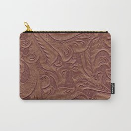 Chocolate Brown Tooled Leather Carry-All Pouch