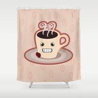 kawaii Shower Curtains featuring Kawaii Coffee by Nir P