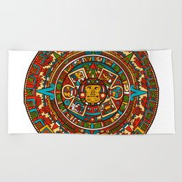Aztec Mythology Calendar Beach Towel