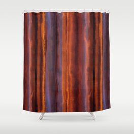 Wildfire Watercolor Stripe Shower Curtain