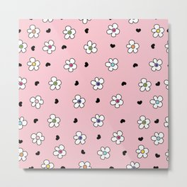 Cute Colorful daisy flower field pattern with black heart pink background Metal Print