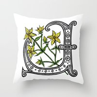marc johns Throw Pillows featuring St Johns Wort by amyrose