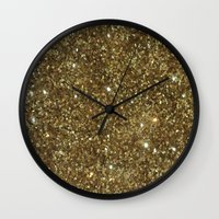 gold glitter Wall Clocks featuring Gold Glitter by NatalieBoBatalie