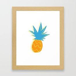 Neon Pop Art Pineapple Frenzy Pattern Framed Art Print