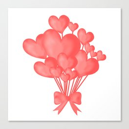 Valentine's day background with heart balloons with ribbon. Canvas Print